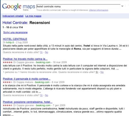 Alcune recensioni su Google Maps
